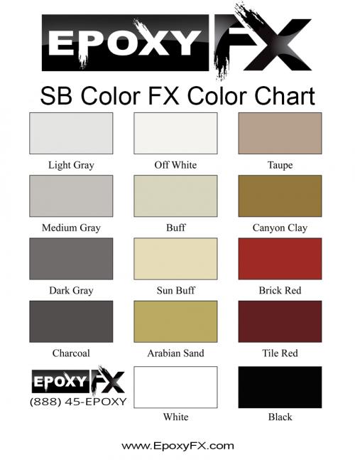SB Color FX Color Chart